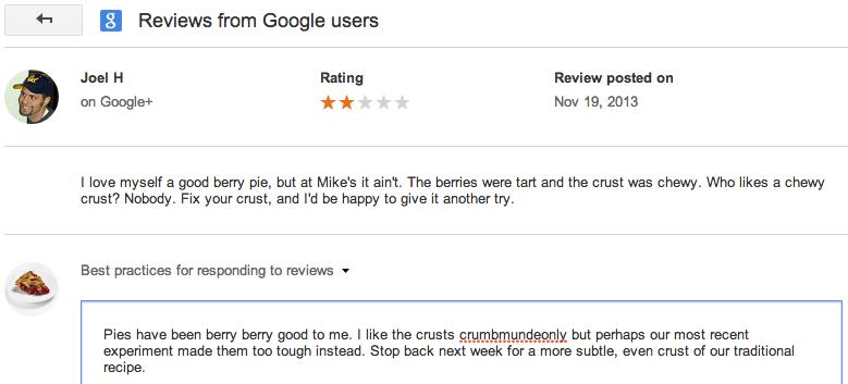 udzielanie odpowiedzi na opinie z Google