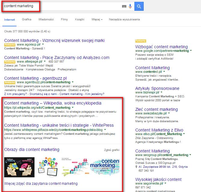 """Po wpisaniu hasła """"content marketing"""" w wyszukiwarce wyświetlą się wyniki związane z tymi słowami kluczowymi"""