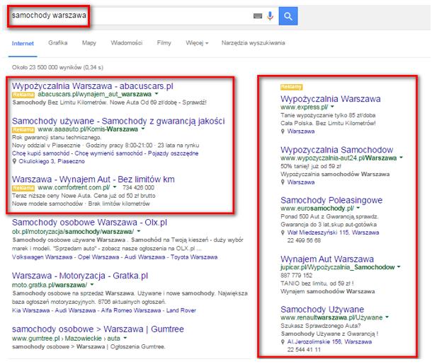 """Reklamy w ramach Google AdWords wyświetlane po wpisaniu słów kluczowych """"samochody warszawa"""""""