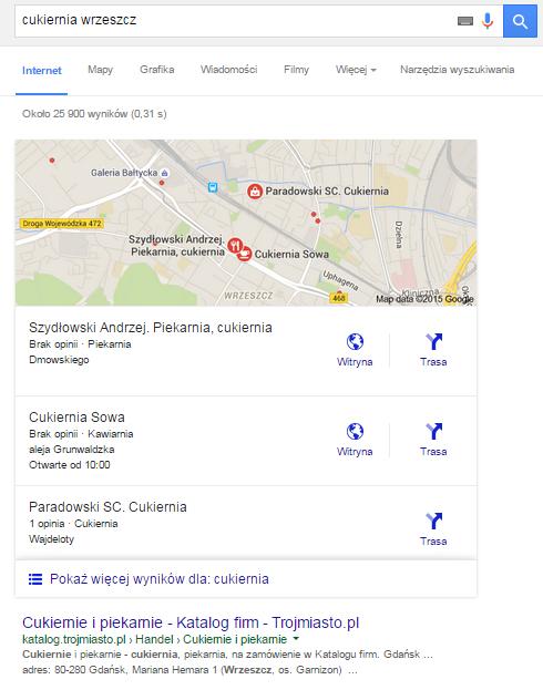 """Przykład wyników Google dla frazy lokalizacyjnej """"cukiernia wrzeszcz"""""""