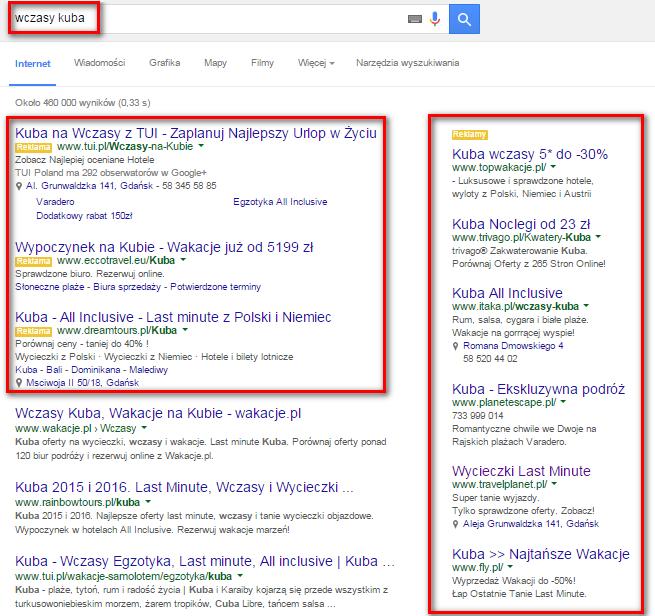 """Po wpisaniu hasła """"wczasy kuba"""" w oknie wyszukiwarki wyświetlą się reklamy w ramach Google AdWords"""