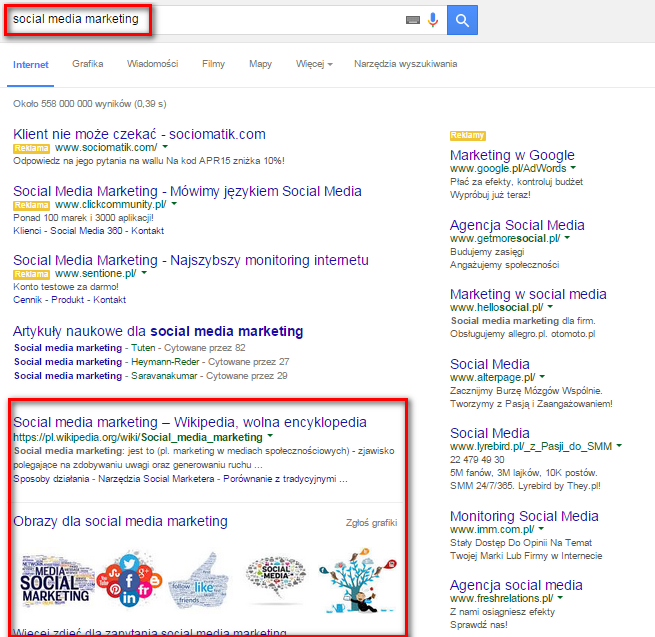 """Po wpisaniu hasła """"strategia seo"""" w wyszukiwarce wyświetlą się wyniki związane z tymi słowami kluczowymi."""