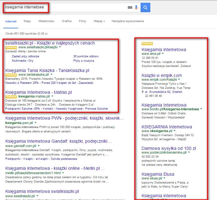 """Po wpisaniu hasła """"sieć afiliacyjna"""" w oknie wyszukiwarki wyświetlą się reklamy w ramach Google AdWords."""
