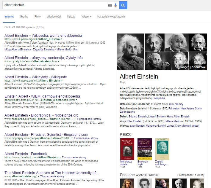 """Graf wiedzy dla hasła """"Albert Einstein"""""""
