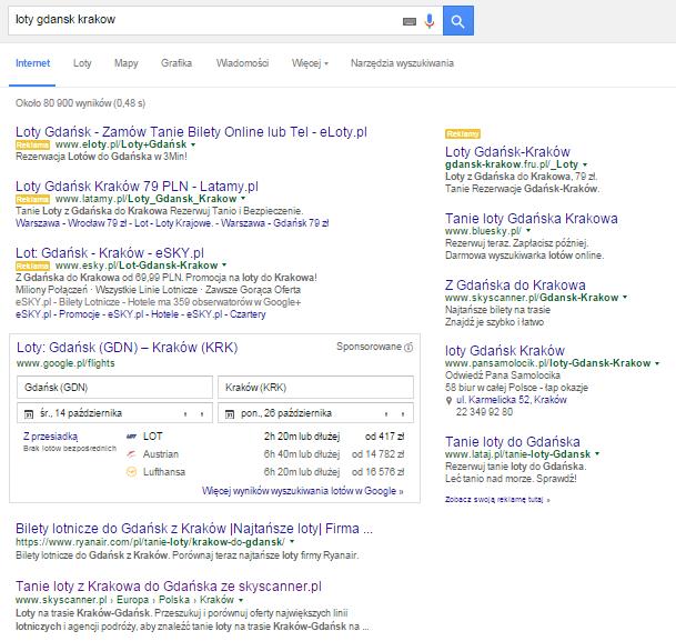 Wynik wyszukiwania w Google lotów z Gdańska do Krakowa