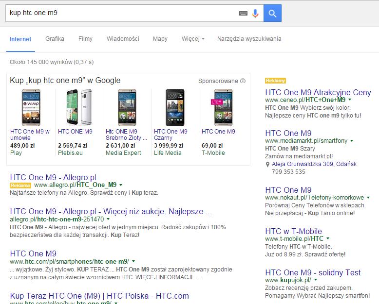 Przykład reklamy graficznej w Google SERP