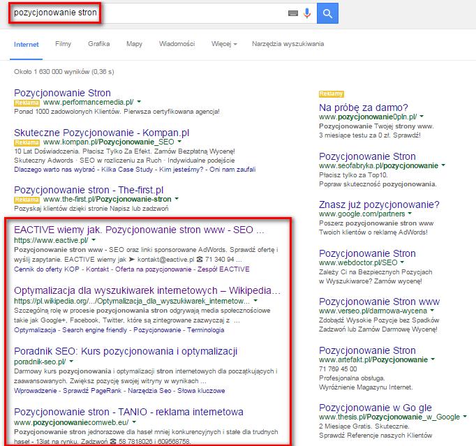 """Po wpisaniu hasła """"pozycjonowanie stron"""" w wyszukiwarce wyświetlą się wyniki związane z tymi słowami kluczowymi"""