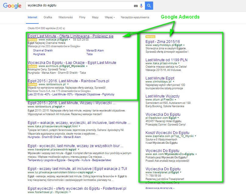 """Płatne wyniki wyszukiwania Google AdWords na hasło """"wycieczka do Egiptu"""""""