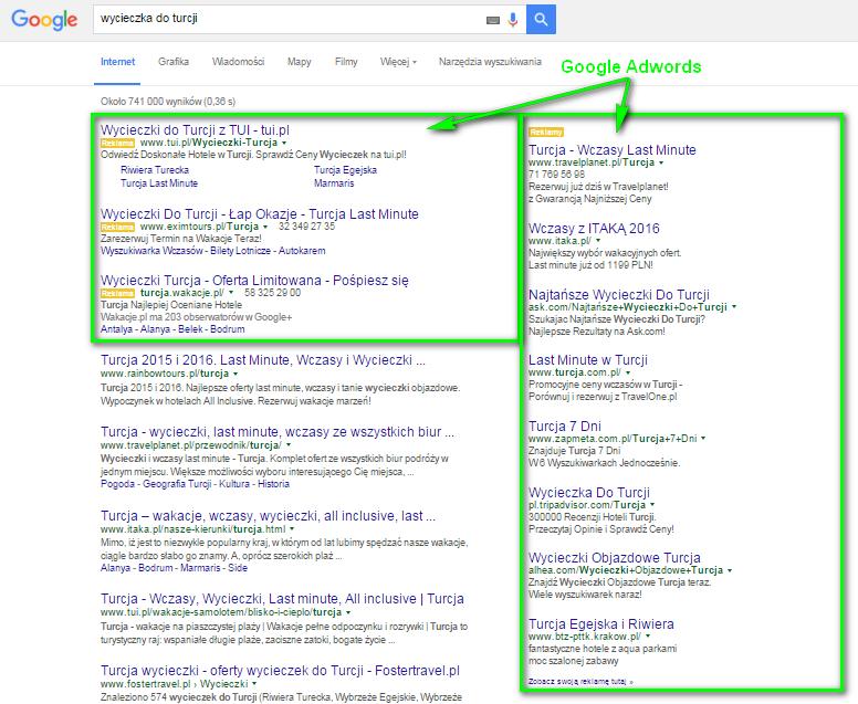 """Płatne wyniki wyszukiwania Google AdWords na hasło """"wycieczka do Turcji"""""""