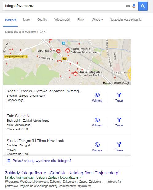 """Przykład wyników Google dla frazy lokalizacyjnej """"fotograf wrzeszcz"""""""