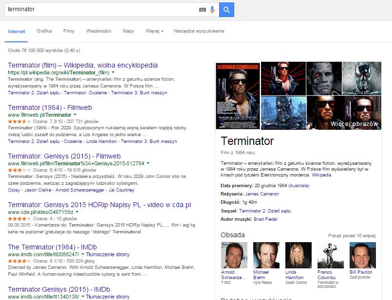 """Graf wiedzy dla hasła """"Terminator"""""""