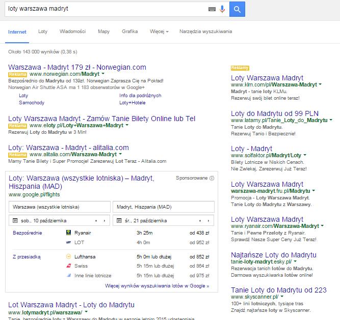 Wynik wyszukiwania w Google lotów z Warszawy do Madrytu