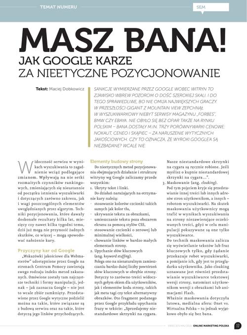 Ban Google za pozycjonowanie