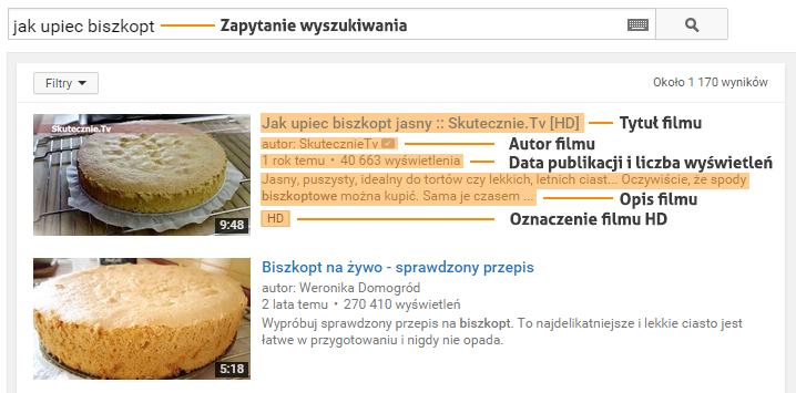 wyniki wyszukiwania YouTube