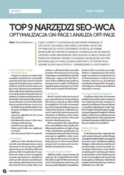 top 9 narzędzi seo-wca - online marketing polska