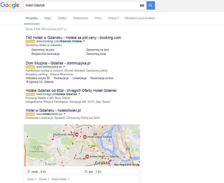 4 reklamy AdWords w wynikach Google SERP