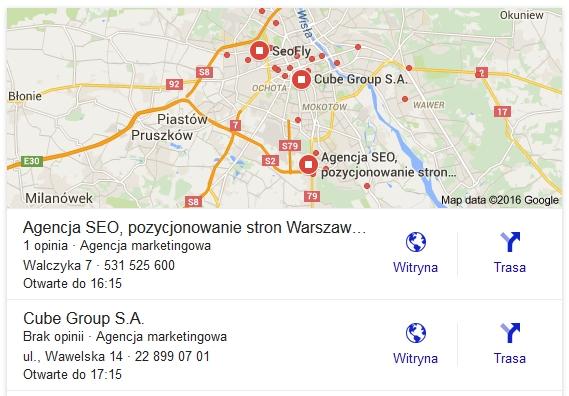 mapy google - wyniki lokalne