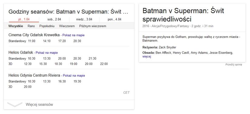 SERP Google - repertuar kin