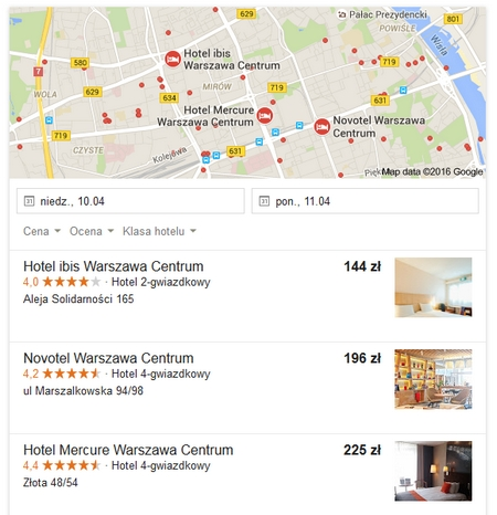 SERP Google - hotele