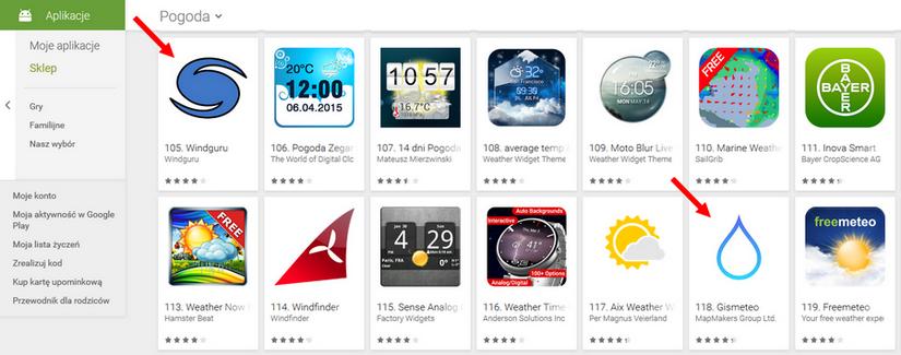 ikony aplikacji w sklepie