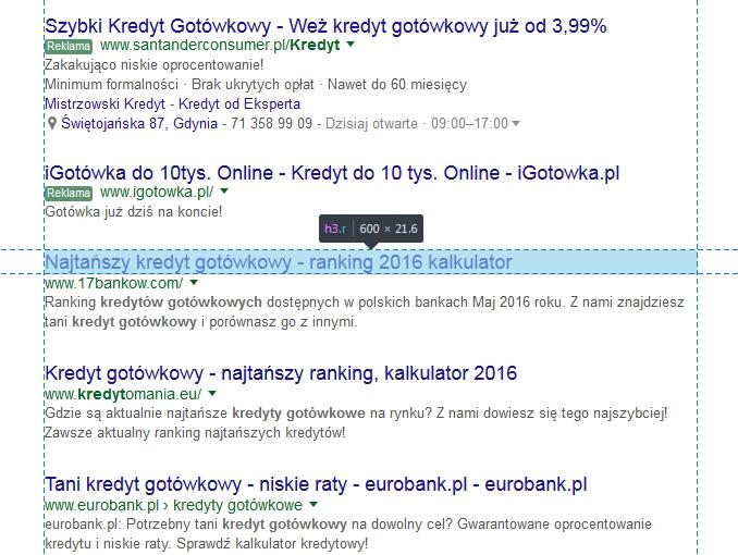 Zmiana szerokości wyników Google