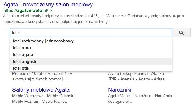 Sitelinks searchbox w Google - przykład