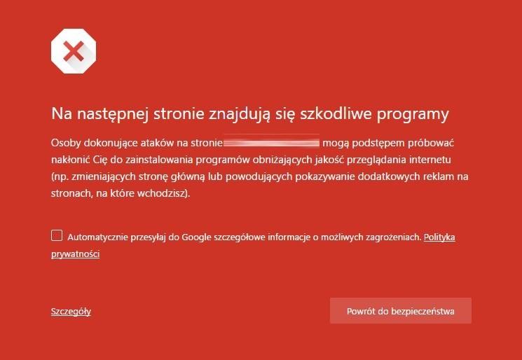 ostrzeżenie w Chrome