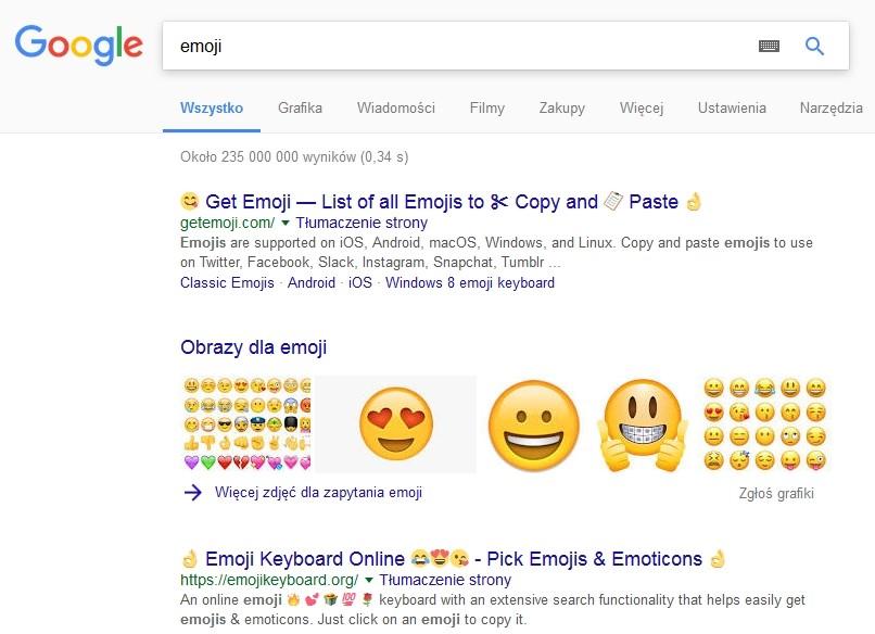 emoji wyniki wyszukiwania