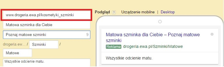 Końcowy adres URL