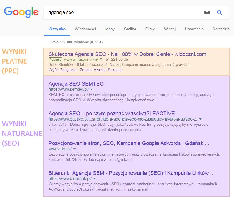 SERP Google - podział SEO / PPC