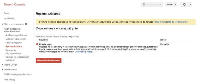 Kara ręczna Google - powiadomienie w GSC