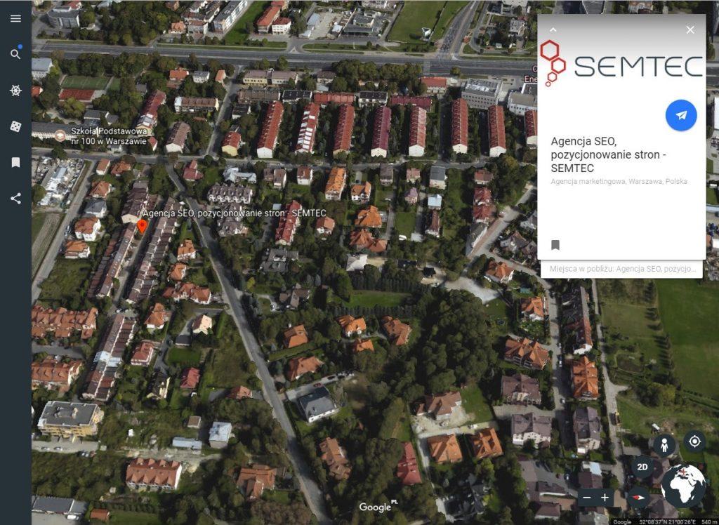 Wizytówka Google Moja Firma w Google Earth