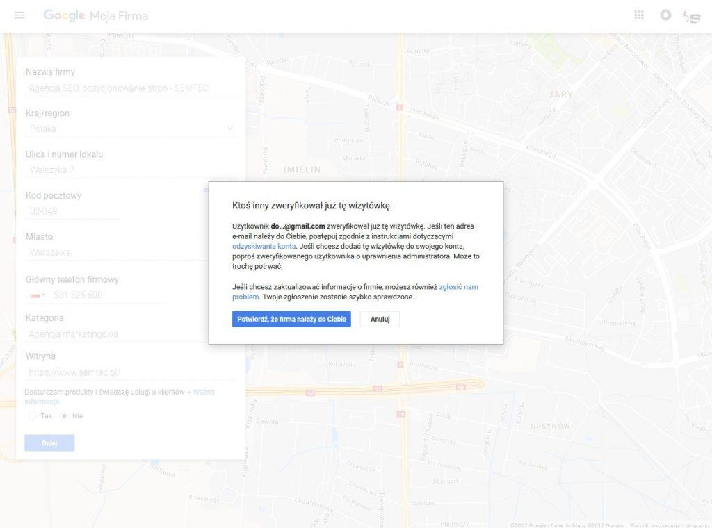 Google Moja Firma: prośba o przekazanie dostępu