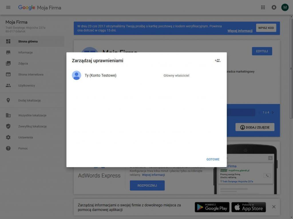 Google Moja Firma: zarządzanie uprawnieniami