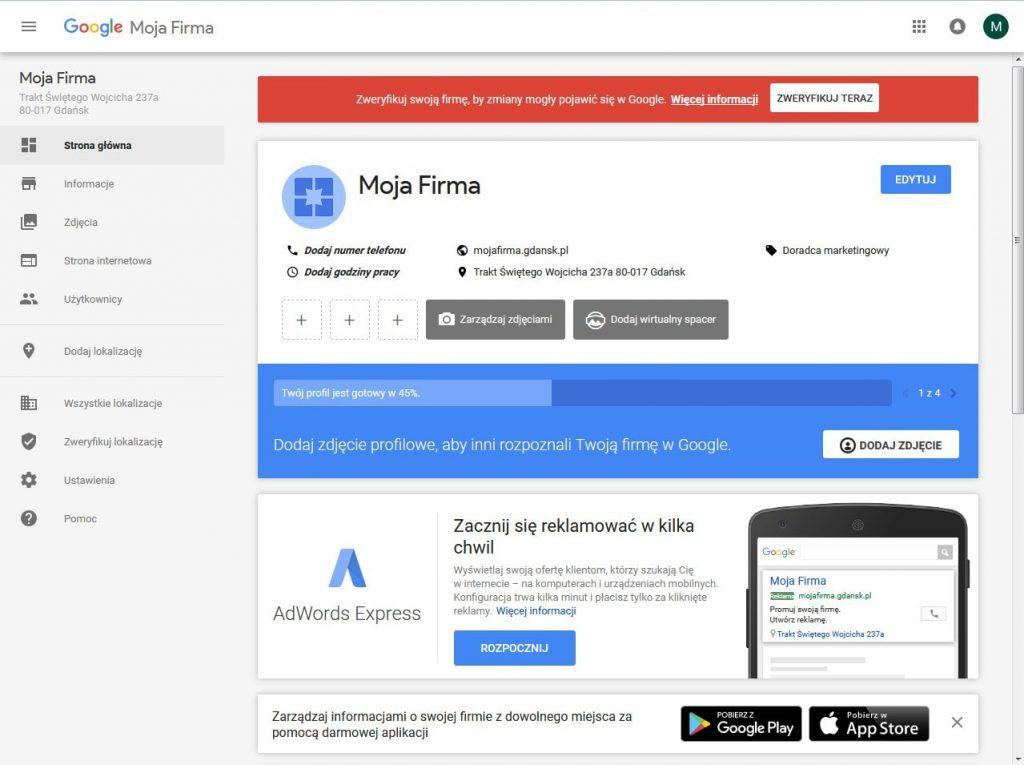 Panel zarządzania wizytówką Google Moja Firma