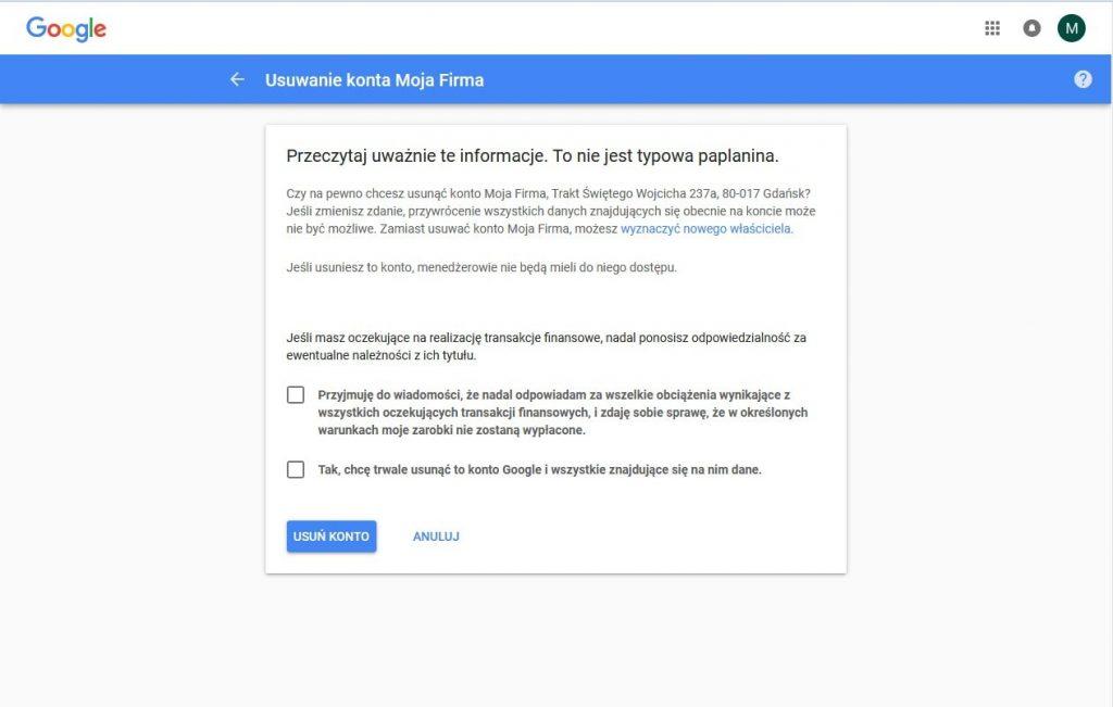 Google Moja Firma: usuwanie wizytówki