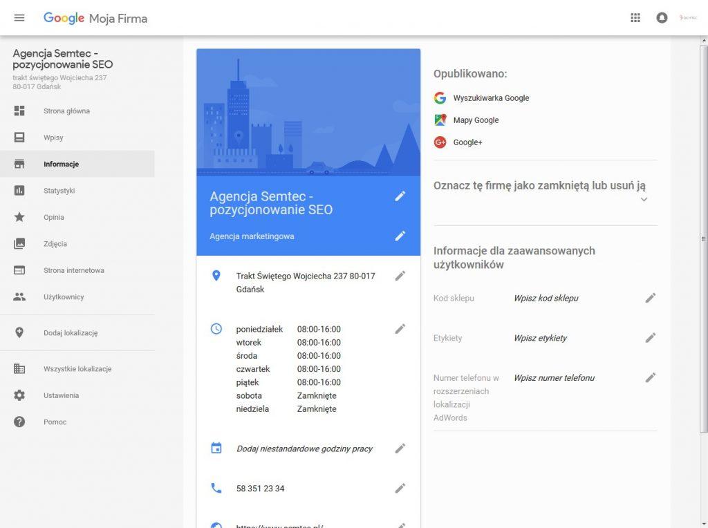 Google Moja Firma: edycja informacji