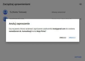 Google Moja Firma: usuwanie menedżera