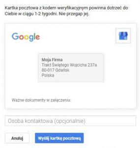Google Moja Firma: weryfikacja wizytówki