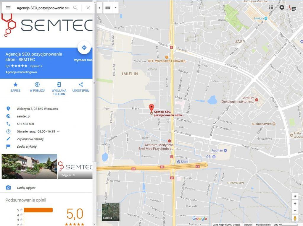Wizytówka Google Moja Firma w Mapach Google