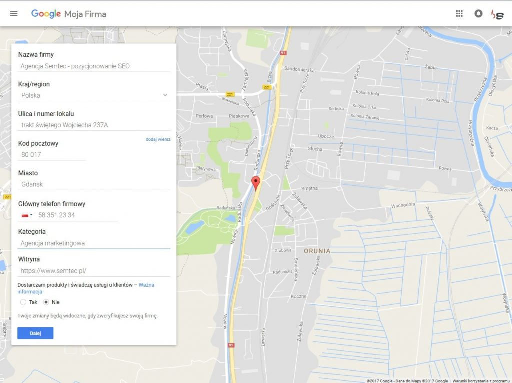 Formularz Google Moja Firma