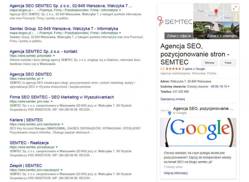 Post przy wizytówce Google Moja Firma