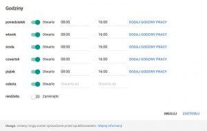 Google Moja Firma: edycja godzin pracy