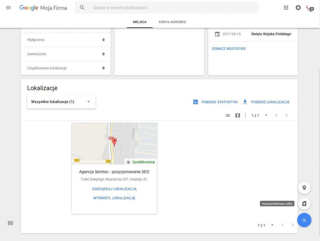 Google Moja Firma: hurtowe dodawanie lokalizacji
