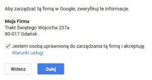 Google Moja Firma: weryfikacja
