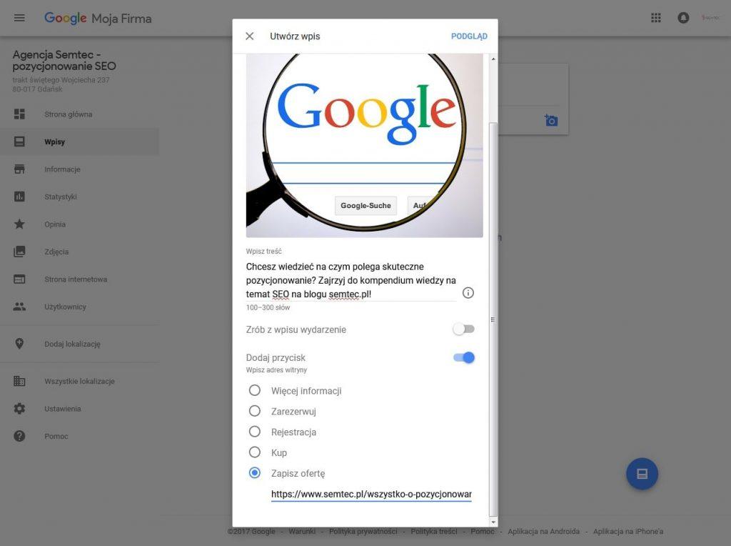 dodawanie posta do Google Moja Firma
