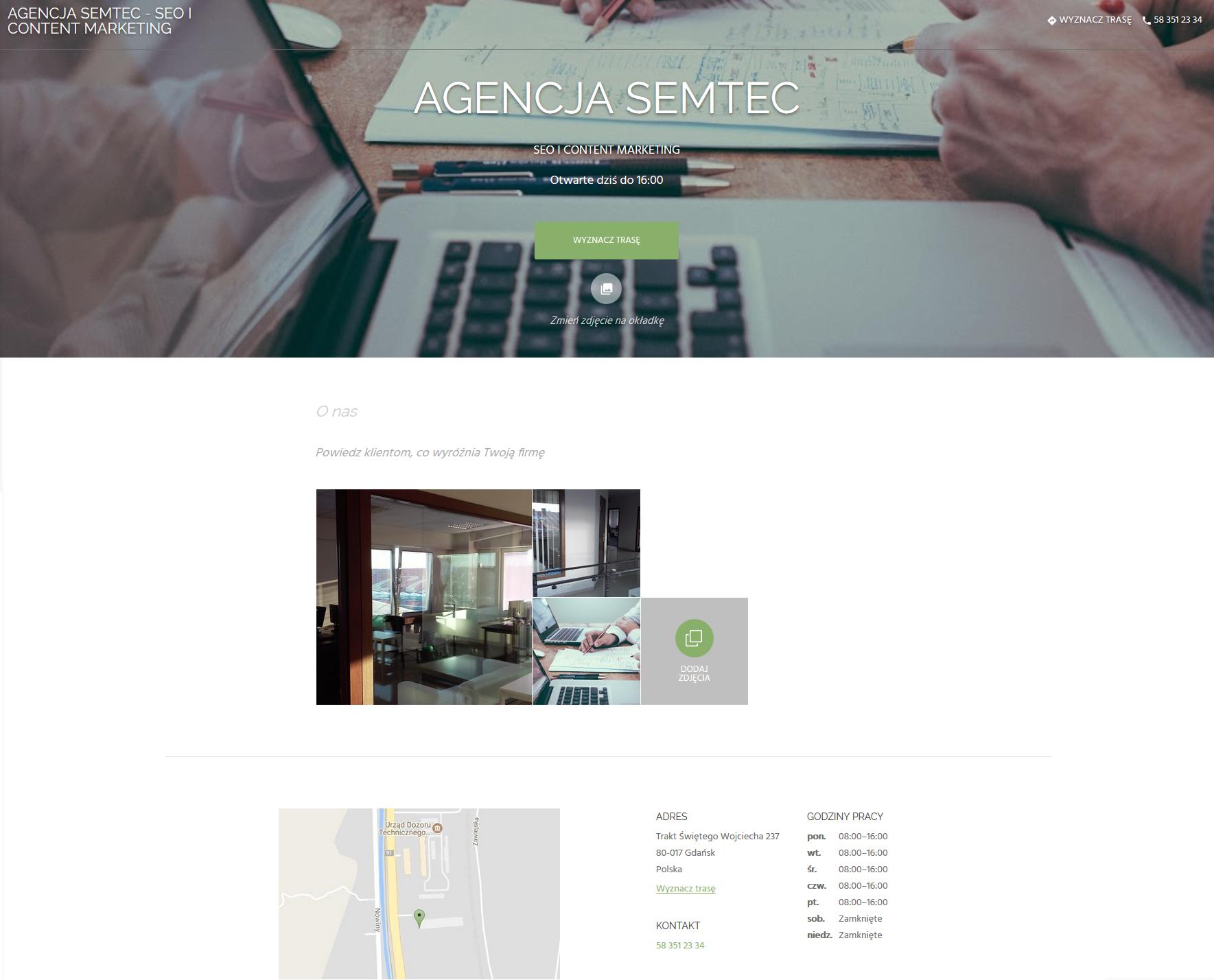 Gotowa strona internetowa - Google Moja Firma