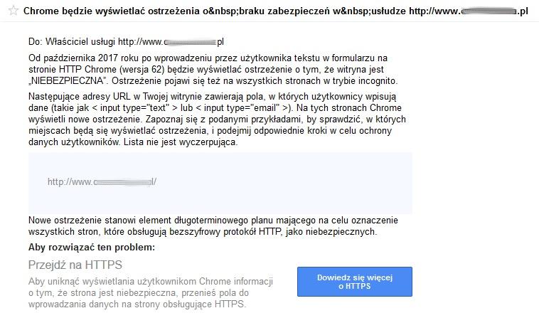 Powiadomienie GSC o HTTPS w Chrome