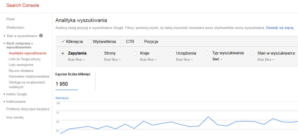 Ruch z bezpłatnych rezultatów Google - raport Search Console