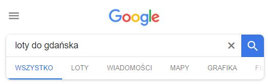 google wyszukiwarka lotów